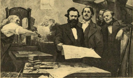 Marx and Engels in the printing office of the Neue Rheinische Zeitung | Draftsman: E. Sapiro